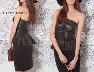 lazor cut leather,leather top,peplum,leather lace.snaps,strapless
