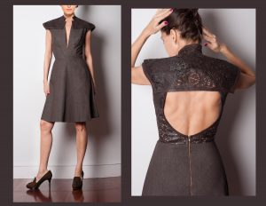 beautiful brown denim dress with lazor cut leather back, sides, open back, clothing manufacturer, clothes design, dress design, fashion, design clothes, apparel design