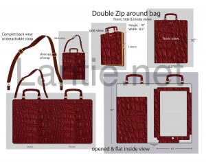 cad flat layout,tech pack,burgundy crocodile,iPad.